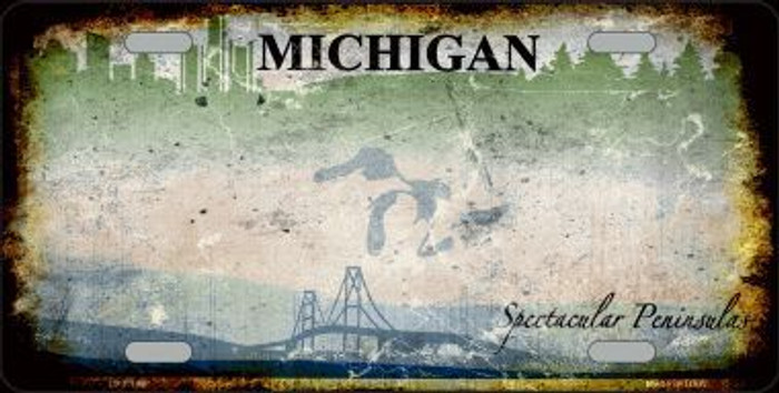 Michigan State Background Rusty Novelty Metal License Plate