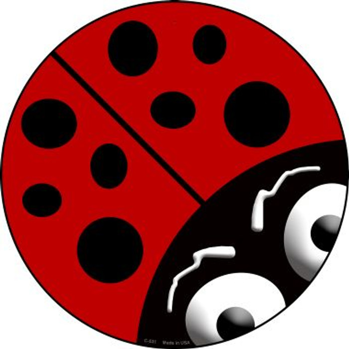 Lady Bug Novelty Metal Circular Sign
