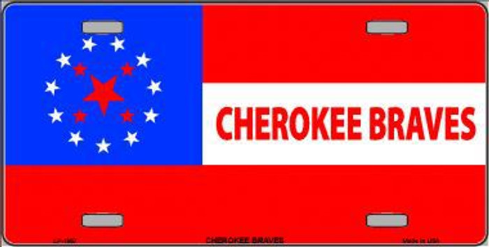 Cherokee Braves Flag Metal Novelty License Plate