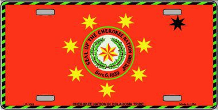 Cherokee Nation Flag Metal Novelty License Plate