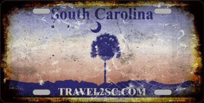 South Carolina Background Rusty Novelty Metal License Plate