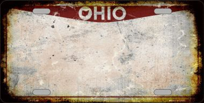 Ohio Background Rusty Novelty Metal License Plate