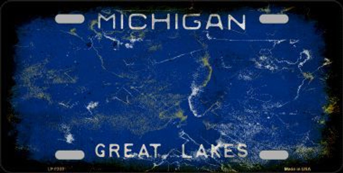 Michigan Background Rusty Novelty Metal License Plate