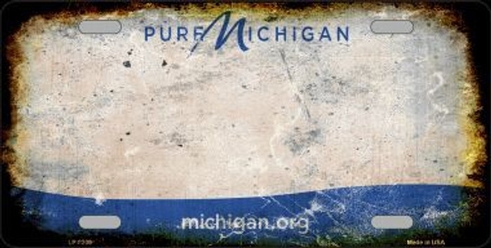 Pure Michigan Background Rusty Novelty Metal License Plate