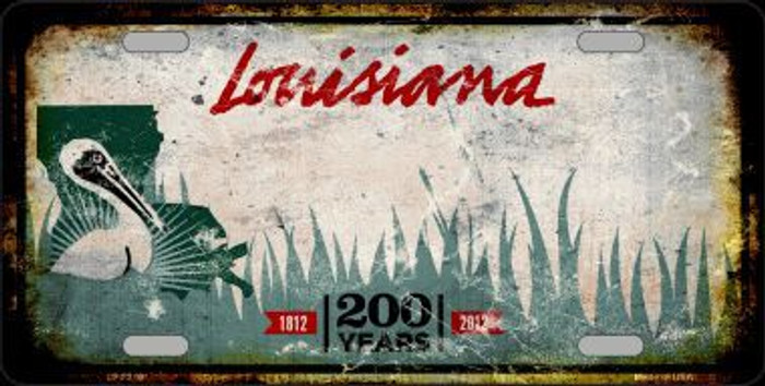 Louisiana Background Rusty Novelty Metal License Plate