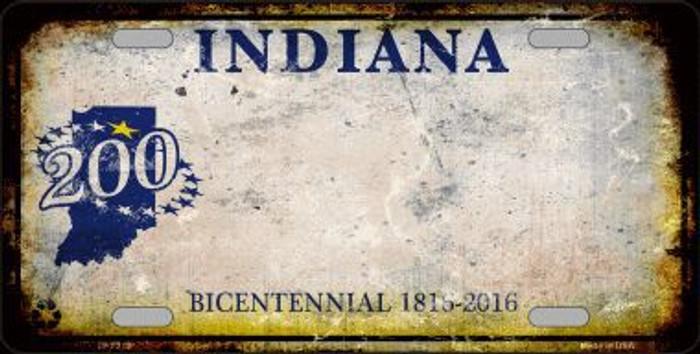 Indiana Background Rusty Novelty Metal License Plate