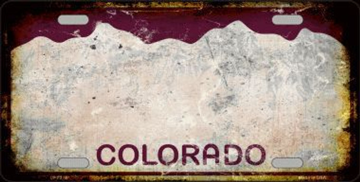 Colorado Background Rusty Novelty Metal License Plate