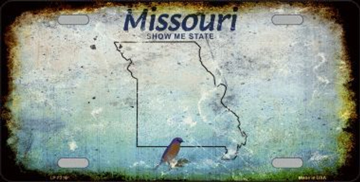 Missouri Background Rusty Novelty Metal License Plate