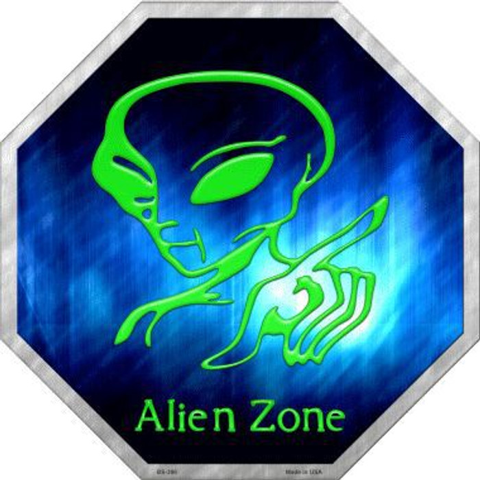 Alien Zone Metal Novelty Stop Sign