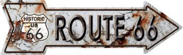 Rusty Route 66 Novelty Metal Arrow Sign