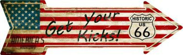 American Flag Get Your Kicks Novelty Metal Arrow Sign