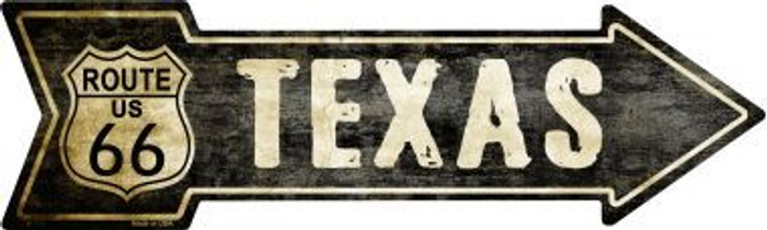 Vintage Route 66 Texas Novelty Metal Arrow Sign