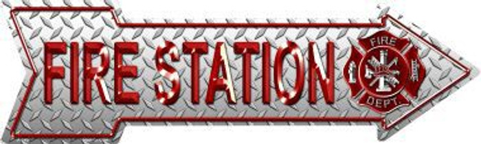 Fire Station Novelty Metal Arrow Sign