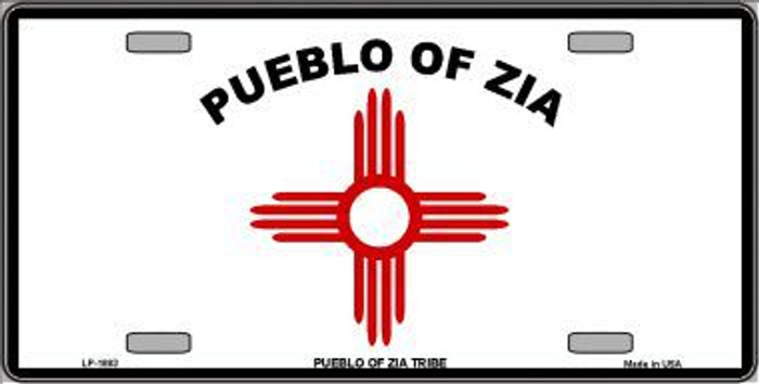 Zia Pueblo Flag Metal Novelty License Plate