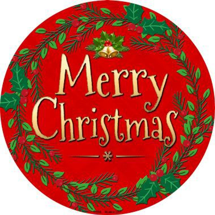 Merry Christmas Novelty Metal Circular Sign