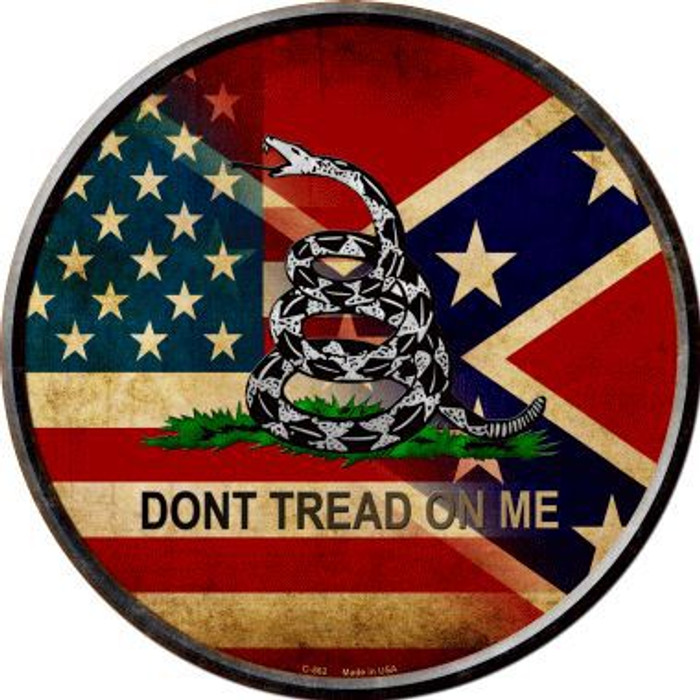 American Confederate Dont Tread On Me Novelty Metal Circular Sign
