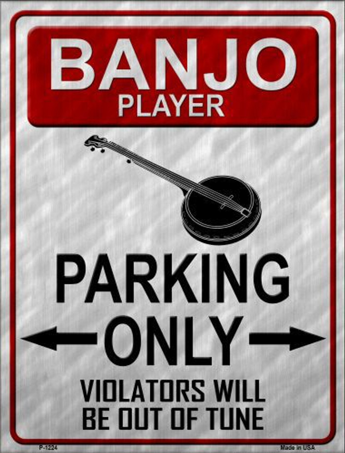 Banjo Player Parking Metal Novelty Parking Sign
