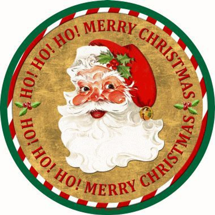 Ho Ho Ho Santa Novelty Metal Circular Sign