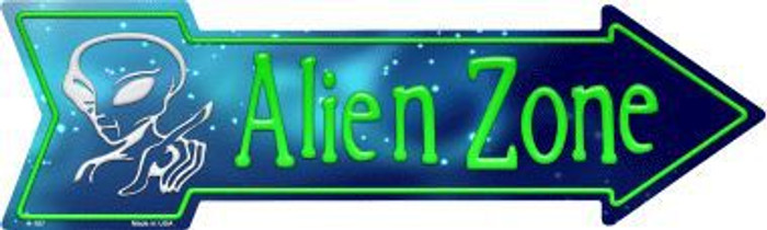 Alien Zone Novelty Metal Arrow Sign