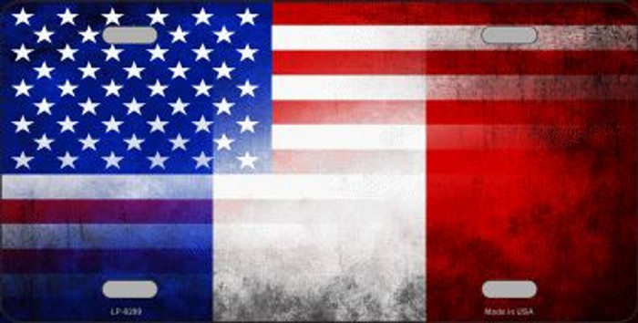 American French Flag Novelty Metal License Plate