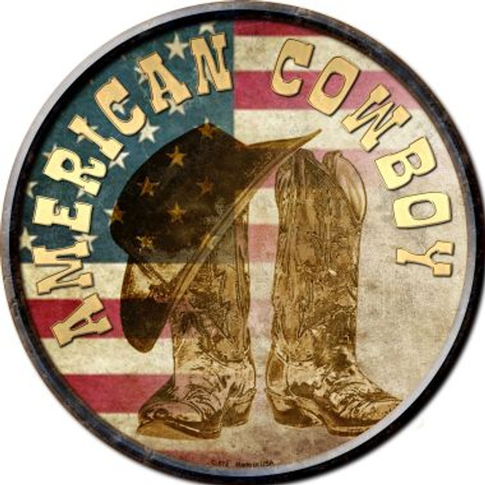 American Cowboy Novelty Metal Circular Sign