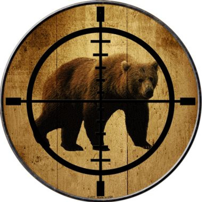 Bear Hunter Novelty Metal Circular Sign C-577