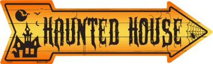Haunted House Novelty Metal Arrow Sign