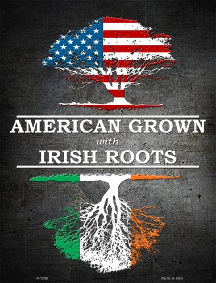 American Grown Irish Roots Metal Novelty Parking Sign