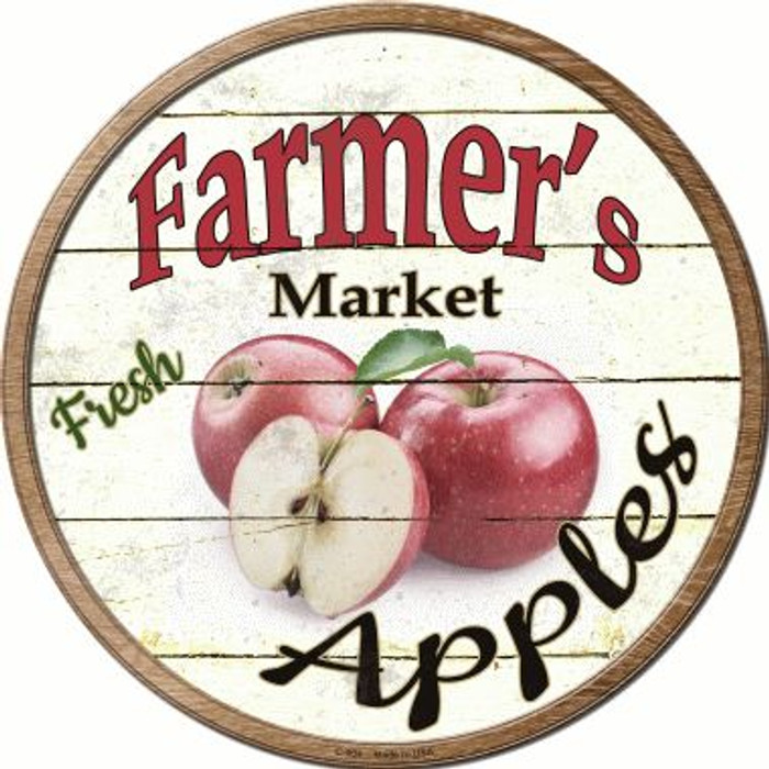 Farmers Market Apples Novelty Metal Circular Sign