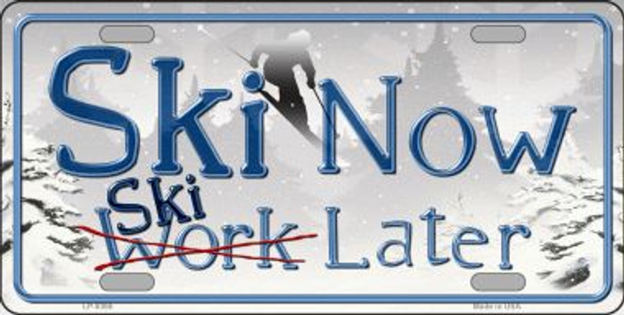 Ski Now Work Later Novelty Metal License Plate