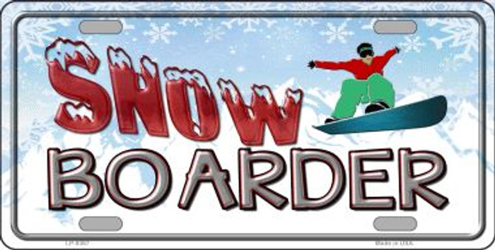 Snow Boarder Novelty Metal License Plate