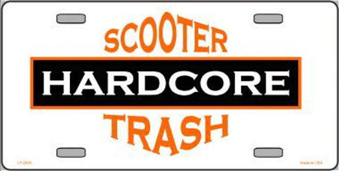 Hardcore Scooter Trash White Novelty Metal License Plate