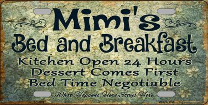 Mimis Bed & Breakfast Novelty Metal License Plate