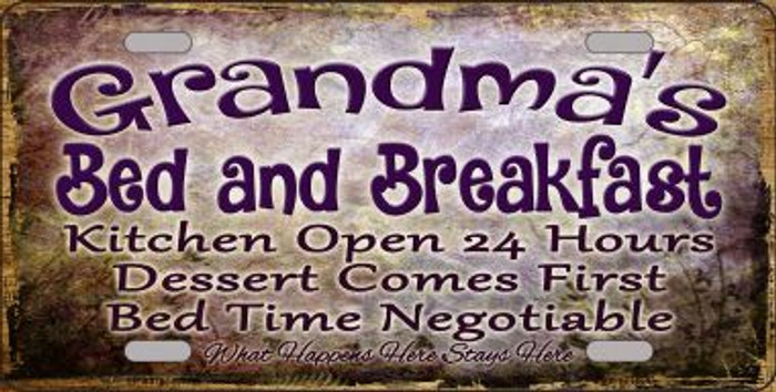 Grandmas Bed & Breakfast Novelty Metal License Plate