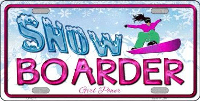 Snow Boarder Girl Novelty Metal License Plate