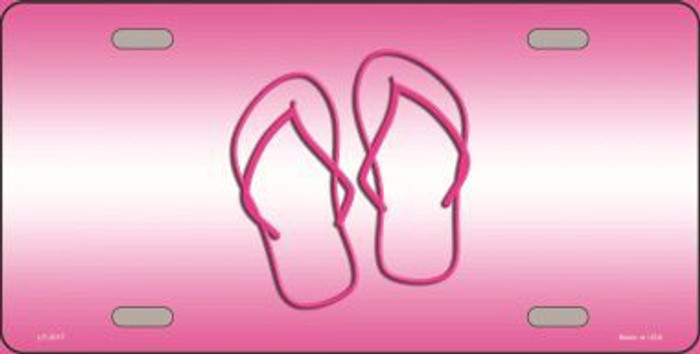 Flip Flops Pink Metal Novelty License Plate