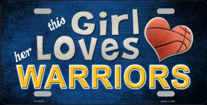 This Girl Loves Her Warriors Novelty Metal License Plate