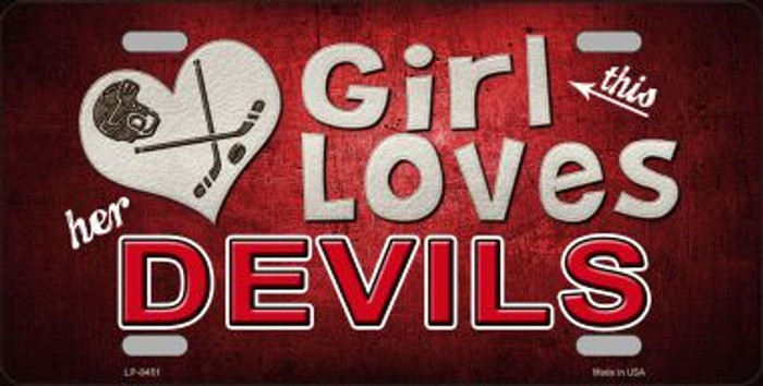 This Girl Loves Her Devils Novelty Metal License Plate