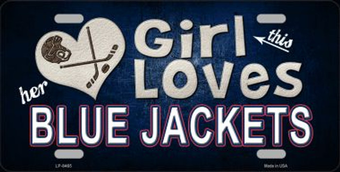 This Girl Loves Her Blue Jackets Novelty Metal License Plate