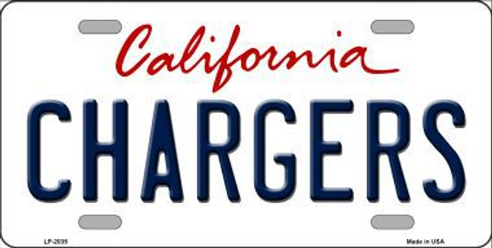 Chargers California State Background Novelty Metal License Plate