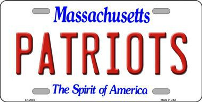 Patriots Massachusetts State Background Novelty Metal License Plate