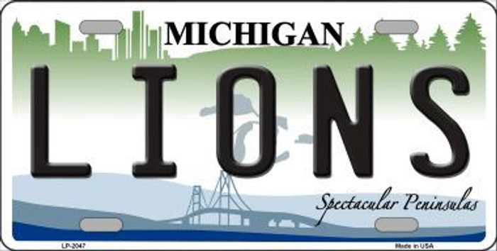 Lions Michigan State Background Novelty Metal License Plate