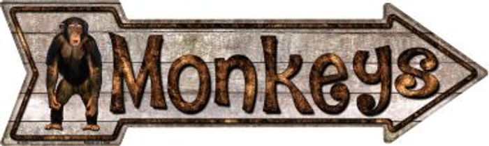 Monkeys Novelty Metal Arrow Sign