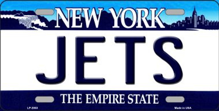 Jets New York State Background Novelty Metal License Plate
