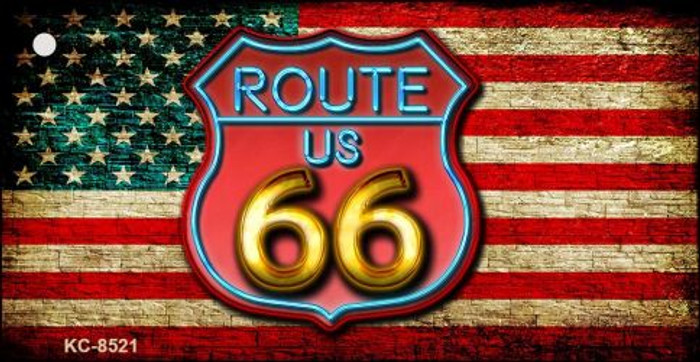 American Route 66 Neon Novelty Metal Key Chain
