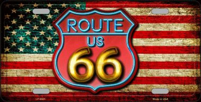 American Route 66 Neon Novelty Metal License Plate
