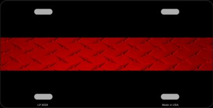 Fire Diamond Thin Red Line Novelty Metal License Plate