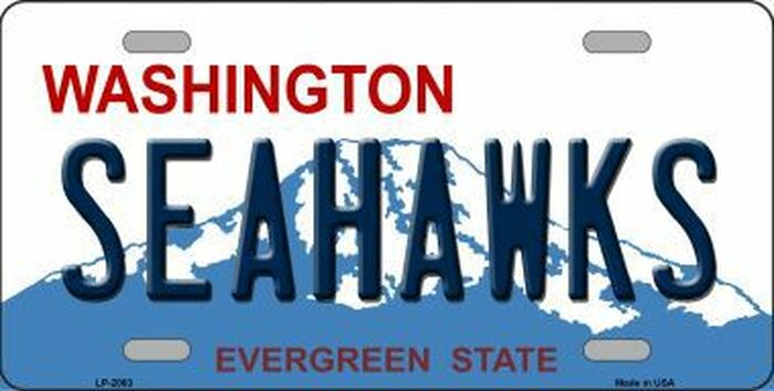 Seahawks Washington State Background Novelty Metal License Plate