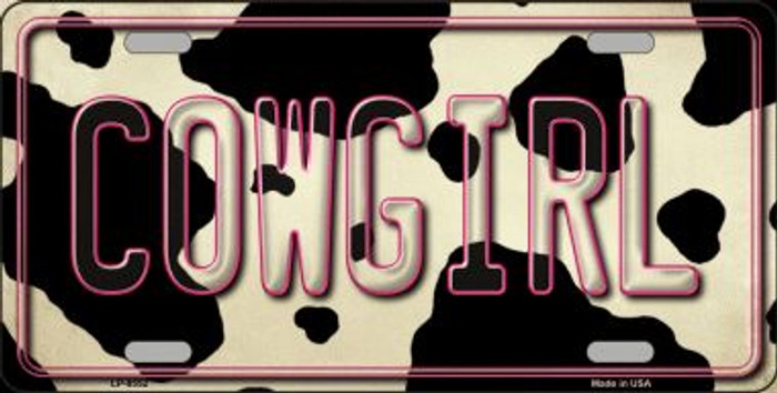 Cowgirl Cow Print Background Novelty Metal License Plate