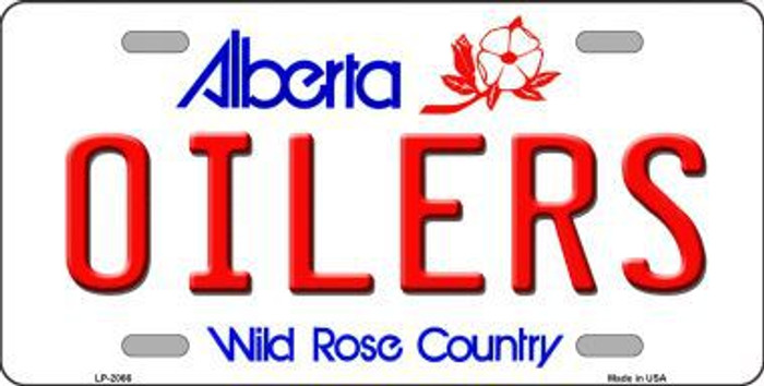 Oilers Alberta Canada Province Background Metal Novelty License Plate LP-2066